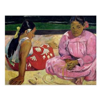 Mujeres de Tahití en la playa 1891 Postal