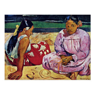 Mujeres de Tahitian en la playa de Paul Gauguin Postales