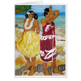 Mujeres de Tahitian Tarjeta Pequeña
