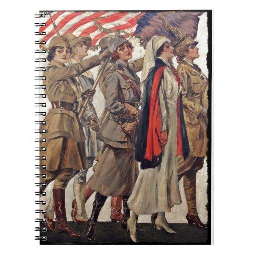 Mujeres de WWI que cuidan a reclutadores Libro De Apuntes