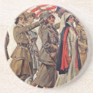 Mujeres de WWI que cuidan a reclutadores Posavasos Para Bebidas