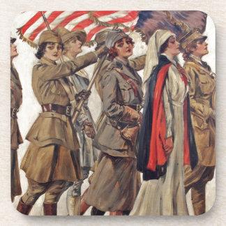 Mujeres de WWI que cuidan a reclutadores Posavasos De Bebida