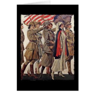 Mujeres de WWI que cuidan a reclutadores Tarjeta De Felicitación