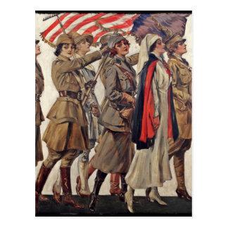Mujeres de WWI que cuidan a reclutadores Tarjeta Postal