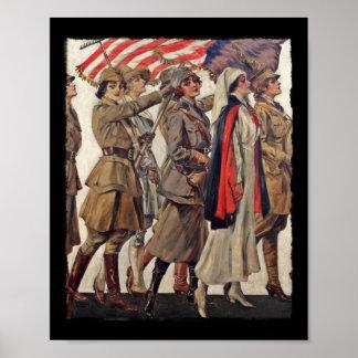 Mujeres de WWI que cuidan a reclutas Poster
