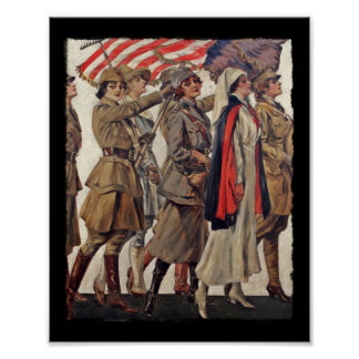 Mujeres de WWI que cuidan a reclutas Póster