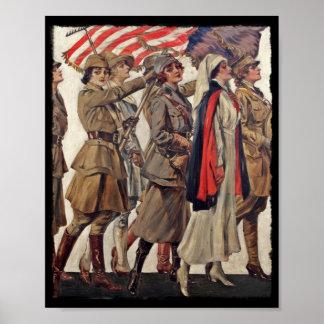 Mujeres de WWI que cuidan a reclutas Posters