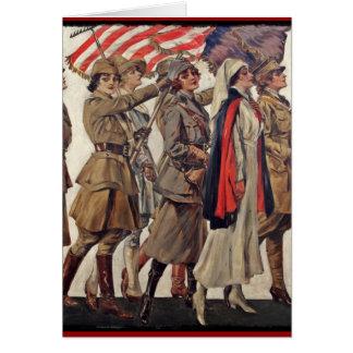 Mujeres de WWI que cuidan a reclutas Tarjeta De Felicitación