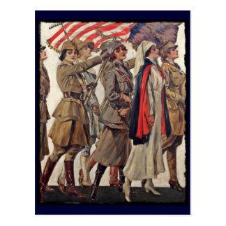 Mujeres de WWI que cuidan a reclutas Tarjetas Postales