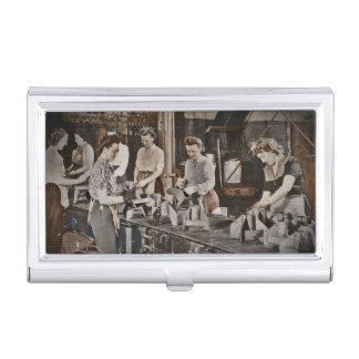 Mujeres de WWII en planta de fabricación Caja De Tarjetas De Presentación
