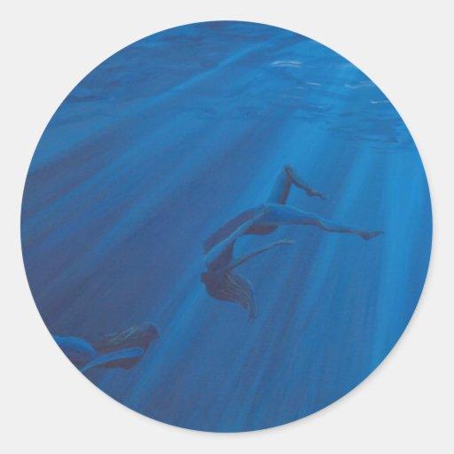 Mujeres del agua pegatina redonda