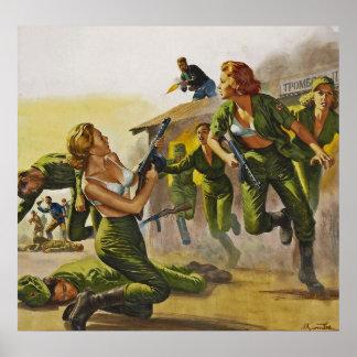 Mujeres del combate que luchan en sus sujetadores posters