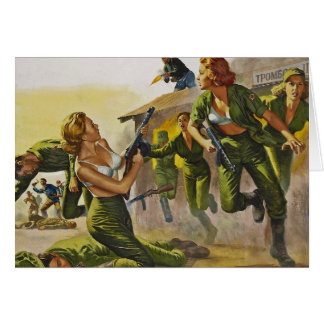 Mujeres del combate que luchan en sus sujetadores felicitación