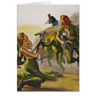 Mujeres del combate que luchan en sus sujetadores tarjetas
