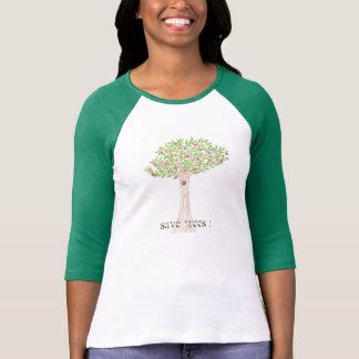 Mujeres del Día de la Tierra del manzano 3/4 Playeras