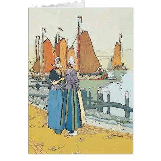 Mujeres del holandés del vintage tarjeta de felicitación