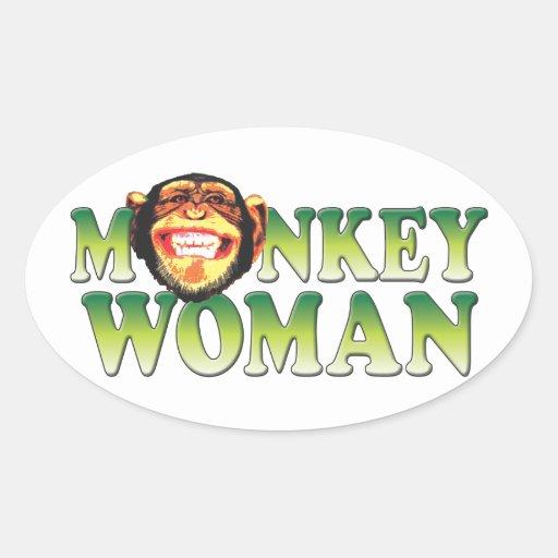 Mujeres del mono pegatina ovalada