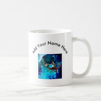 Mujeres del pulpo con el delfín taza de café
