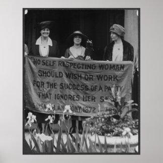 Mujeres del sufragio que protestan para que la su  póster