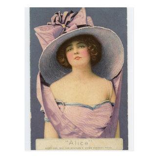 Mujeres del Victorian en postal púrpura del vestid