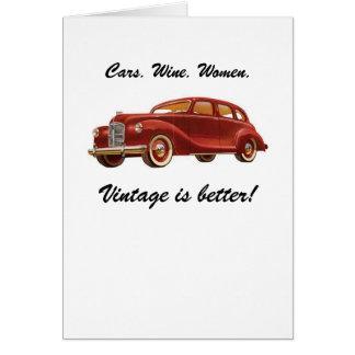 Mujeres del vino de los coches: ¡El vintage es mej Felicitaciones