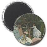 Mujeres en el jardín (1866) imán de nevera
