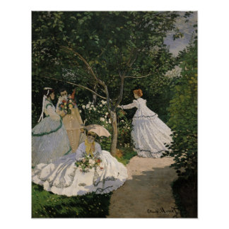 Mujeres en el jardín, 1866 póster