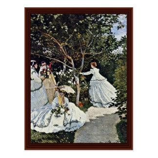 Mujeres en el jardín de Claude Monet Postales