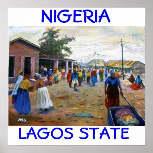 mujeres en el mercado 1a, ESTADO NIGERIA de LAGOS, Póster