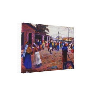 mujeres en el mercado por Mojisola un Gbadamosi Lona Envuelta Para Galerias