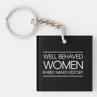 Mujeres en historia llavero cuadrado acrílico a una cara