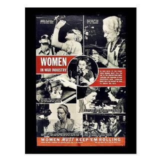 Mujeres en industria de la guerra tarjeta postal