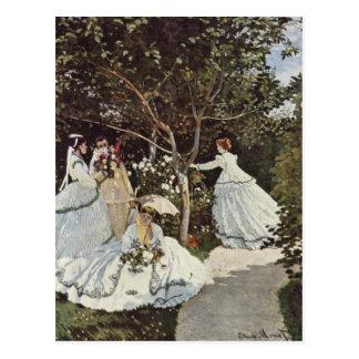 Mujeres en la postal del jardín