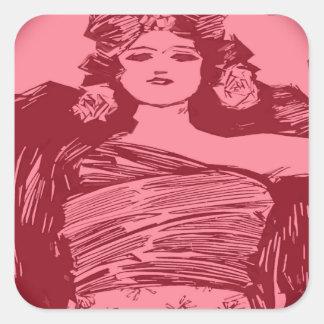 Mujeres en rojo pegatina cuadrada