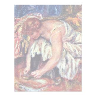 Mujeres en Schuhbinden de Pierre-Auguste Renoir Membretes Personalizados