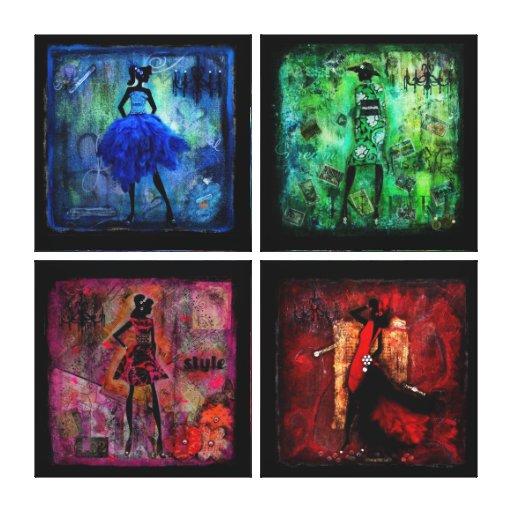 Mujeres en series del color por el brezo Saulsbury Lona Envuelta Para Galerias