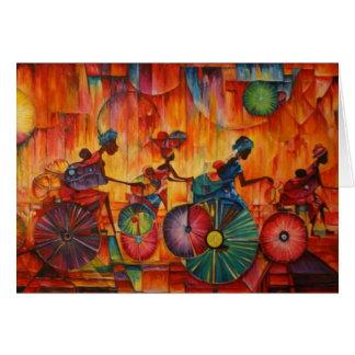 Mujeres en tarjeta de felicitación de las ruedas