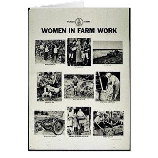 Mujeres en trabajo de la granja tarjeta