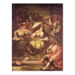 Mujeres en un balcón, 1859 postal