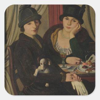 Mujeres en un café, c.1924 pegatina cuadrada