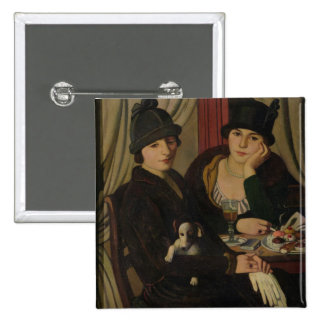 Mujeres en un café, c.1924 pin cuadrada 5 cm