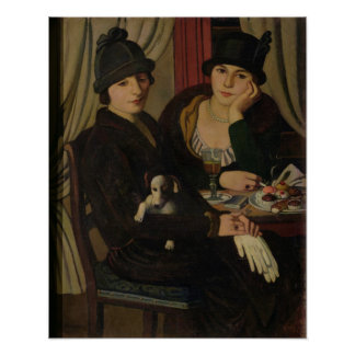 Mujeres en un café, c.1924 póster