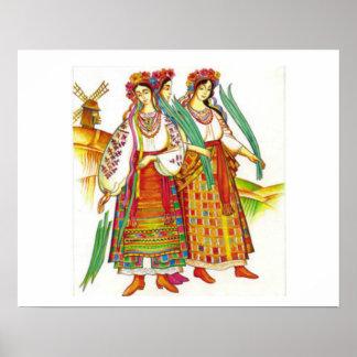 Mujeres en vestido tradicional de Kyivchyna, Póster