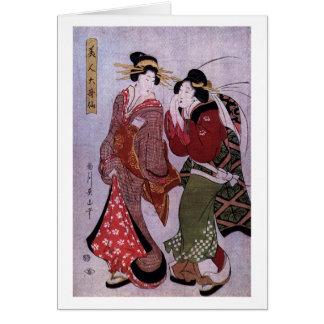 Mujeres hacia fuera para un paseo tarjeta de felicitación