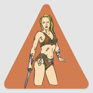 Mujeres hermosas del Amazonas Pegatina Triangular