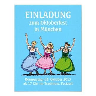 """Mujeres hermosas del Dirndl de Oktoberfest de la Invitación 4.25"""" X 5.5"""""""
