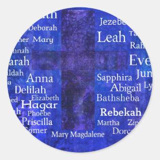 Mujeres importantes en el AZUL de la lista de la Pegatina Redonda
