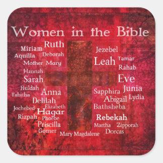 Mujeres importantes en la lista de la biblia pegatina cuadrada