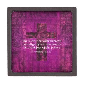 Mujeres inspiradas del verso de la biblia del 31:2 cajas de regalo de calidad