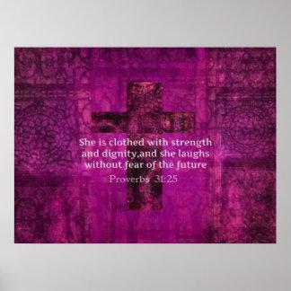 Mujeres inspiradas del verso de la biblia del 31:2 póster